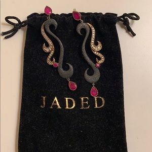 silver oxidized and semi precious stone earrings